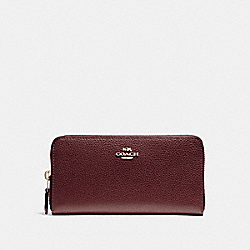 COACH F16612 Accordion Zip Wallet In Polished Pebble Leather LIGHT GOLD/OXBLOOD 1