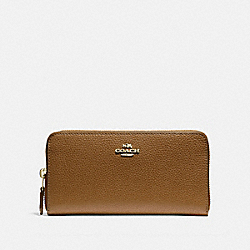 COACH ACCORDION ZIP WALLET - LIGHT SADDLE/LIGHT GOLD - F16612