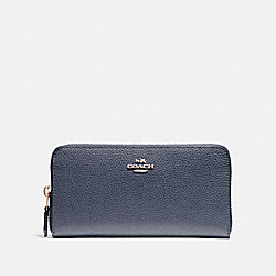 COACH F16612 Accordion Zip Wallet LIGHT GOLD/MIDNIGHT