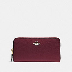 COACH F16612 Accordion Zip Wallet WINE/IMITATION GOLD