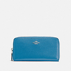 COACH F16612 Accordion Zip Wallet BRIGHT BLUE/SILVER