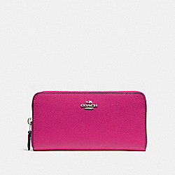 ACCORDION ZIP WALLET - F16612 - CERISE/SILVER