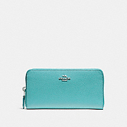 COACH F16612 Accordion Zip Wallet SILVER/AQUAMARINE