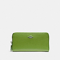 COACH F16612 Accordion Zip Wallet YELLOW GREEN/SILVER