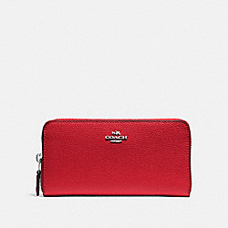 ACCORDION ZIP WALLET - F16612 - BRIGHT RED/SILVER