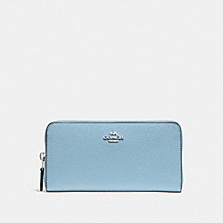ACCORDION ZIP WALLET - F16612 - CORNFLOWER/SILVER