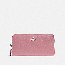 COACH F16612 Accordion Zip Wallet SILVER/DUSTY ROSE