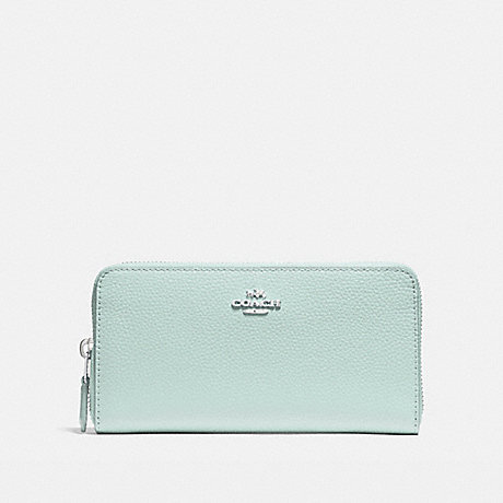 COACH f16612 ACCORDION ZIP WALLET SILVER/SEA GREEN