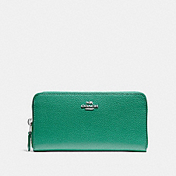 COACH F16612 - ACCORDION ZIP WALLET GREEN/SILVER