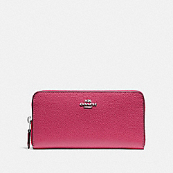 COACH F16612 Accordion Zip Wallet SILVER/HOT PINK