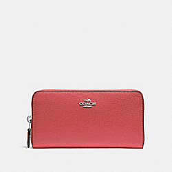 COACH F16612 Accordion Zip Wallet WASHED RED/SILVER