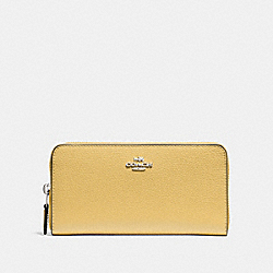 COACH F16612 Accordion Zip Wallet LIGHT YELLOW/SILVER
