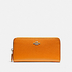 COACH F16612 Accordion Zip Wallet SILVER/TANGERINE