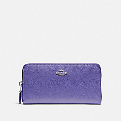 COACH F16612 Accordion Zip Wallet SILVER/VIOLET