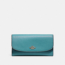 COACH F16613 Checkbook Wallet In Polished Pebble Leather LIGHT GOLD/DARK TEAL