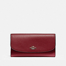 COACH F16613 Checkbook Wallet In Polished Pebble Leather LIGHT GOLD/CRIMSON