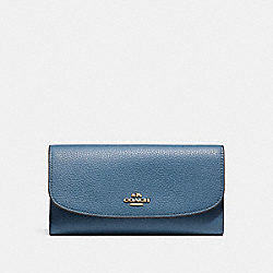 COACH F16613 Checkbook Wallet INK BLUE/LIGHT GOLD