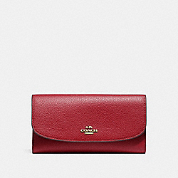 COACH F16613 - CHECKBOOK WALLET LIGHT GOLD/DARK RED