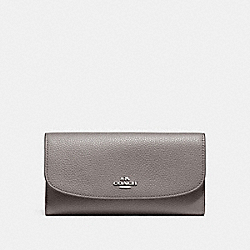 COACH F16613 Checkbook Wallet In Polished Pebble Leather SILVER/HEATHER GREY