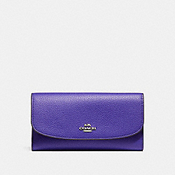 COACH F16613 - CHECKBOOK WALLET IN POLISHED PEBBLE LEATHER SILVER/PURPLE