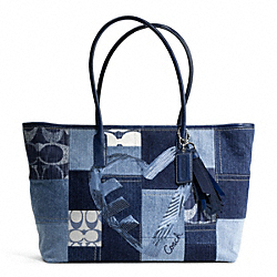 COACH F17054 Poppy Denim Patchwork Sequins Tote
