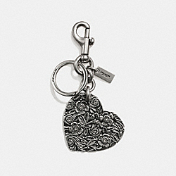 TOOLED HEART BAG CHARM - F18014 - SILVER/SILVER