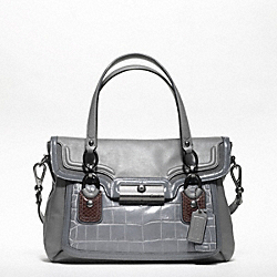 COACH F18282 Kristin Spectator Leather Flap Satchel ANTIQUE NICKEL/GREY MULTI