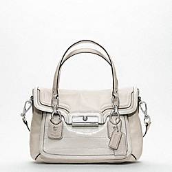 COACH F18282 Kristin Spectator Leather Flap Satchel SILVER/PARCHMENT