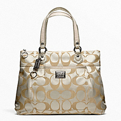 COACH F18351 - POPPY SIGNATURE SATEEN GLAM TOTE SILVER/LIGHT KHAKI/GOLD