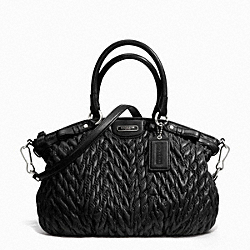 COACH F18637 - MADISON QUILTED CHEVRON NYLON LINDSEY SILVER/BLACK