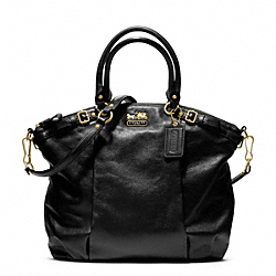 MADISON LINDSEY SATCHEL IN LEATHER - f18641 -  BRASS/BLACK