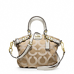 COACH F18651 Madison Op Art Sateen Mini Sophia Crossbody BRASS/LT KHA/PAR LIGHT GOLDZARD