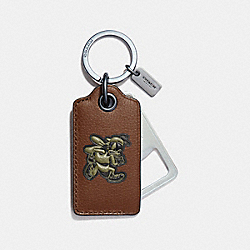 COACH F18888 - VARSITY BOTTLE OPENER KEY FOB DARK SADDLE