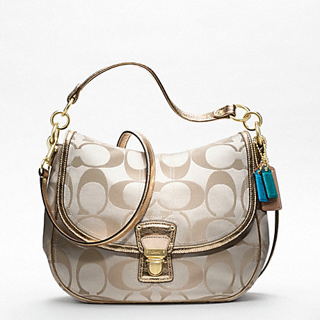 COACH F18986 POPPY SIGNATURE SATEEN HOBO ONE-COLOR