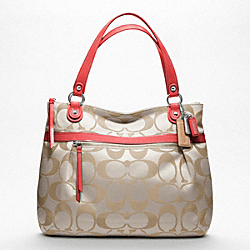 COACH F18988 - POPPY SIGNATURE SATEEN GLAM TOTE SILVER/CRM LT KHA/TANGERINE