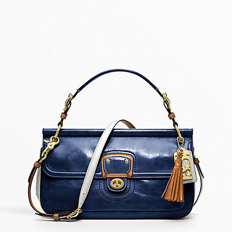 COACH F19035 LEATHER COLORBLOCK CITY WILLIS GOLD/NAVY/IVORY
