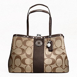 COACH F19190 Signature Stripe Framed Carryall