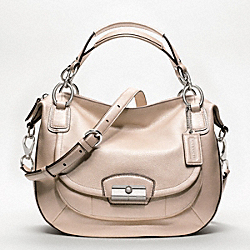 COACH F19302 Kristin Metallic Leather Round Satchel