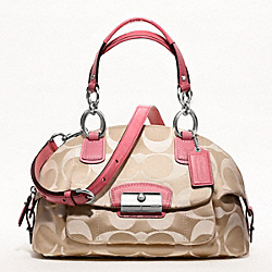 COACH F19334 - KRISTIN SIGNATURE SATEEN DOMED SATCHEL SILVER/LIGHT KHAKI/ROSE