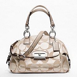 COACH F19334 - KRISTIN SIGNATURE SATEEN DOMED SATCHEL SILVER/CRM LT KHA/CHAMPAGNE