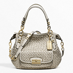 COACH F19747 Kristin Pinnacle Woven Leather Laila Round Satchel