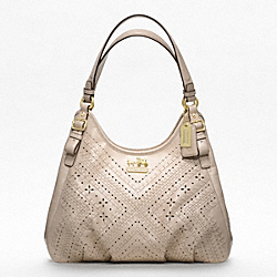 COACH F19839 Madison Criss Cross Leather Maggie Shoulder Bag BRASS/BEIGE