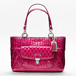 COACH F19857 - POPPY SHOPPER IN QUILTED LEATHER  SILVER/FUCHSIA