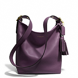 LEATHER DUFFLE - f19889 - BRASS/BLACK VIOLET