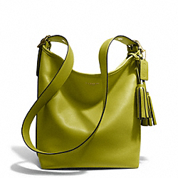 LEATHER DUFFLE - f19889 - BRASS/LIME
