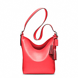 LEATHER DUFFLE - f19889 - SILVER/BRIGHT CORAL