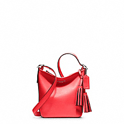 COACH F19901 - LEATHER MINNIE DUFFLE SILVER/BRIGHT CORAL
