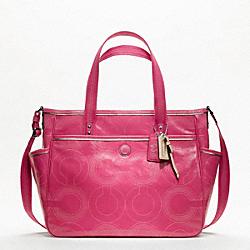 COACH F19911 Baby Bag Stitched Patent Tote SILVER/CRIMSON