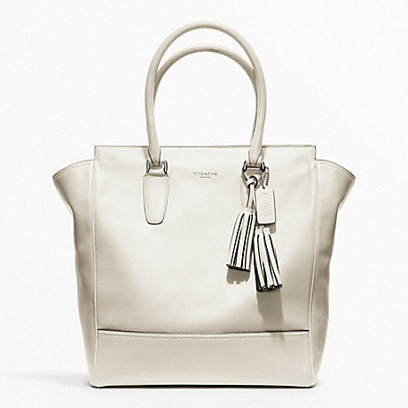 COACH F19924 TANNER LEATHER TOTE SILVER/PARCHMENT