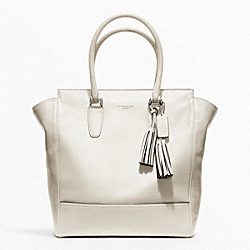 COACH F19924 - TANNER LEATHER TOTE SILVER/PARCHMENT